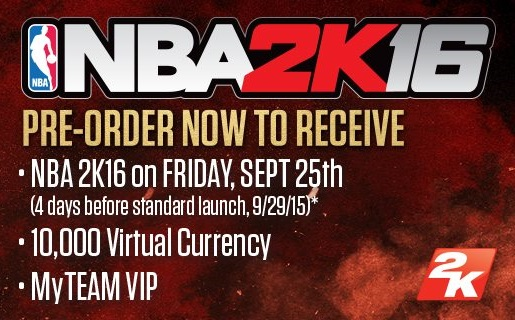 Gamers who pre-order NBA 2K16 will be able to tip-off early