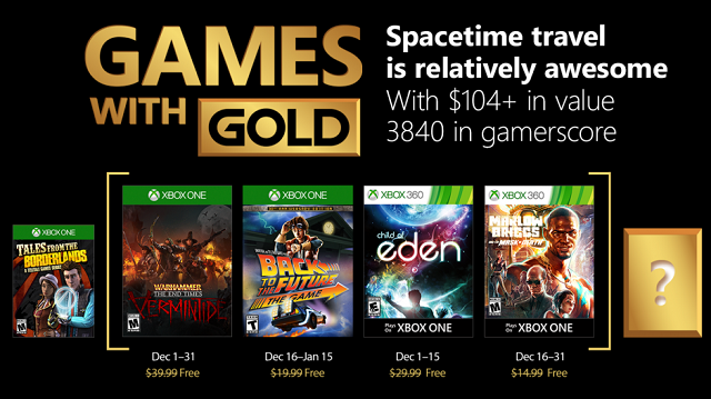 Warhammer and Back to the Future are free in December with Xbox One Games with Gold