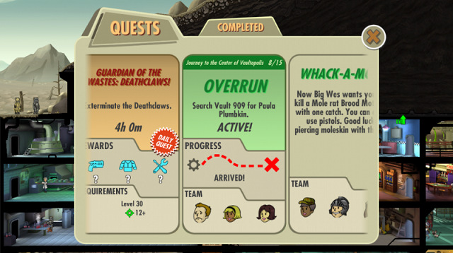 Quests come to Fallout Shelter and Fallout Shelter comes to PC