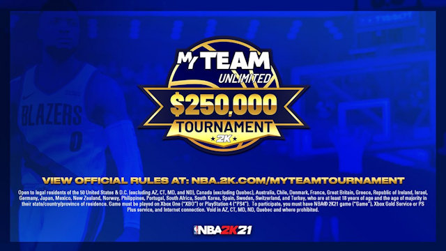 NBA 2K21 announces MyTEAM Unlimited $250,000 Tournament