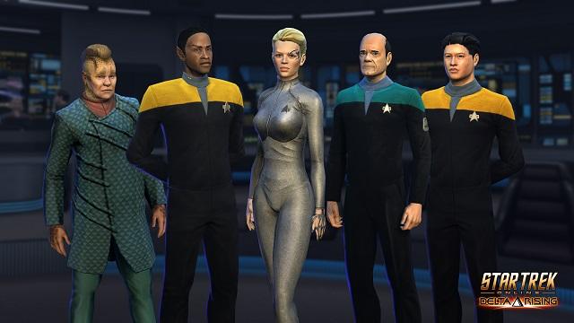 Seven of Nine beaming into Star Trek Online