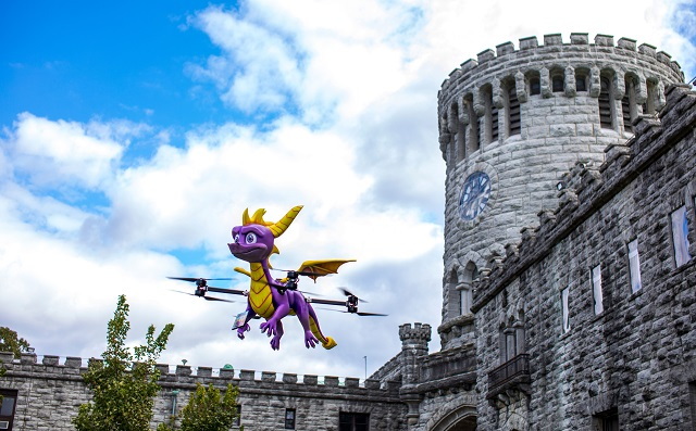 Spyro becomes a fire-breathing drone