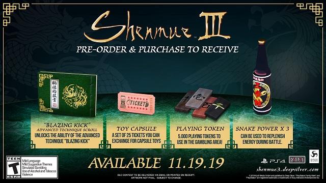 Shenmue III pre-order bonuses revealed