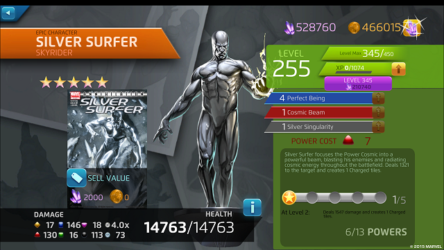 Silver Surfer riding into Marvel Puzzle Quest