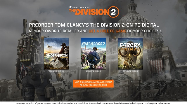 The Division 2 pre-orders on PC come with a free game