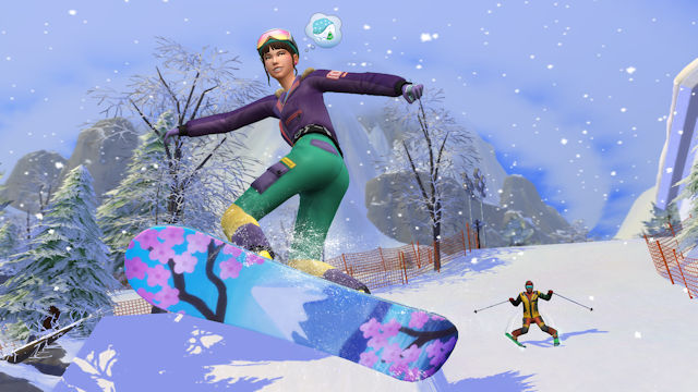 The Sims getting ready to escape to the slopes