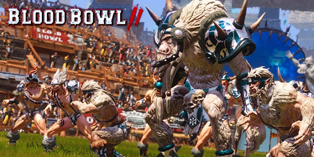 The Norse team takes the field in Blood Bowl 2