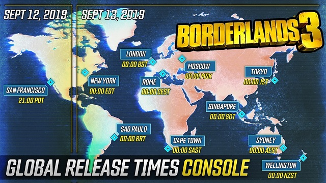 Borderlands 3 global release times released