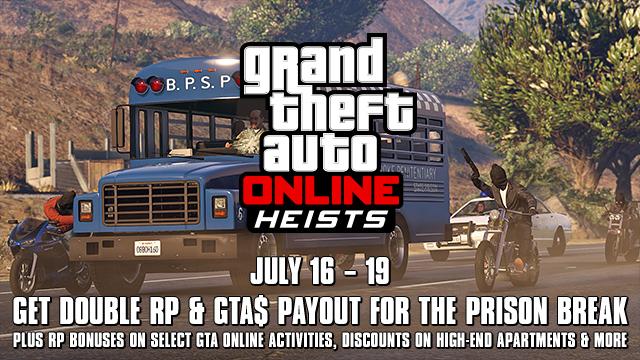 GTA Online announces Prison Break Heist: Double Score Weekend