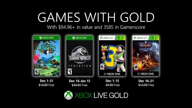 Robots and dinosaurs join Games with Gold in December