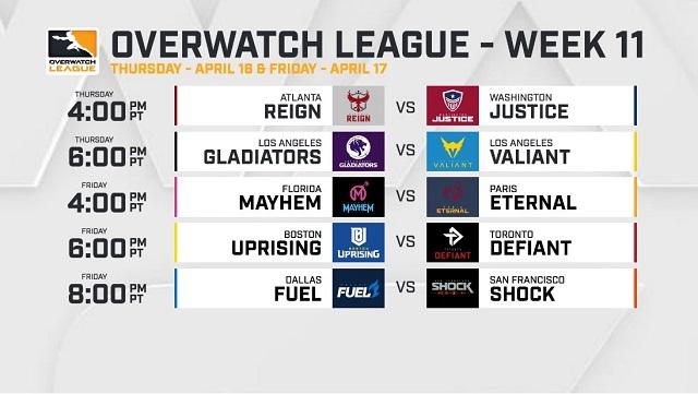 Overwatch League announces Week 11 schedule